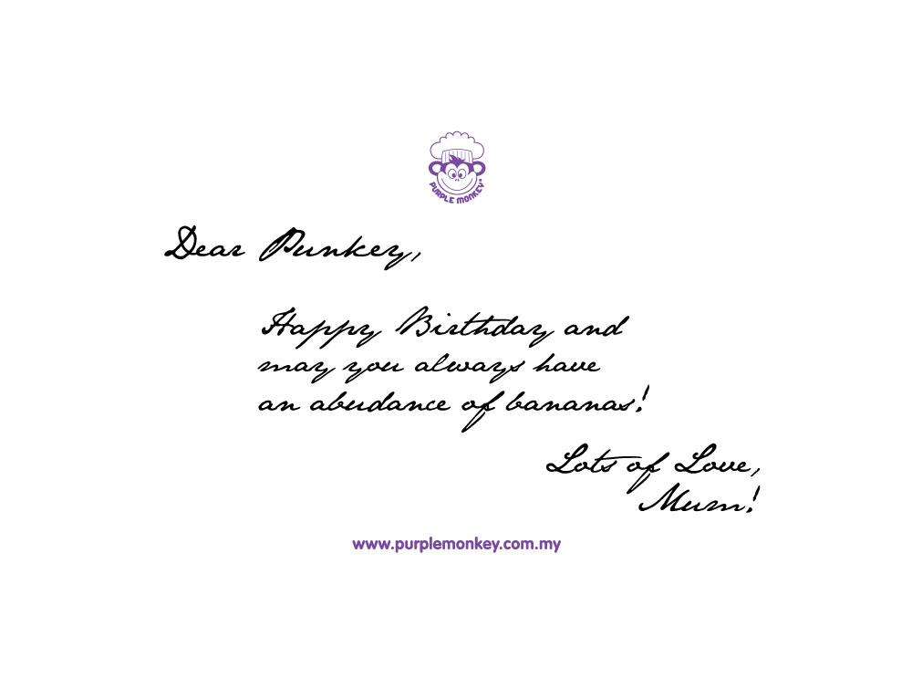 Personalised Handwritten Card Purple Monkey